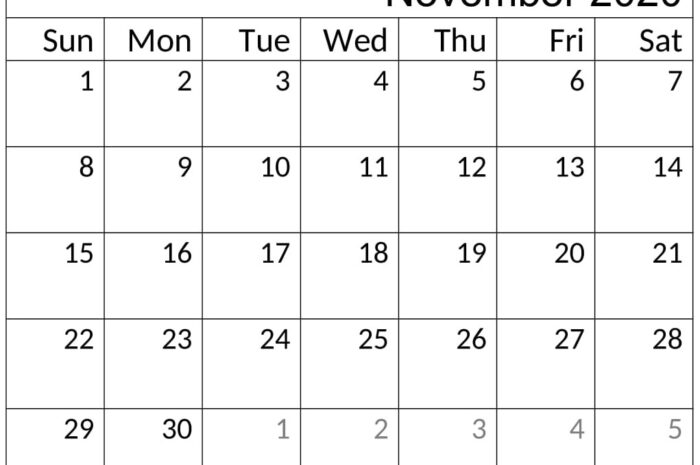 Printable November 2020 Calendar Free Download