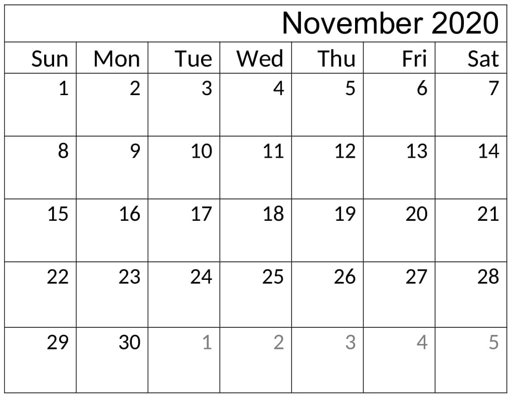 Printable November 2020 Calendar Word