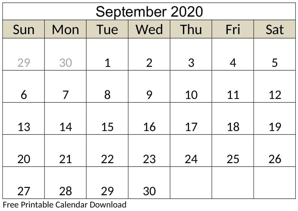 Printable September 2020 Calendar Editable