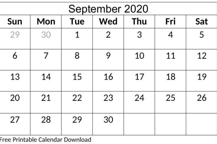 Printable September 2020 Calendar Monthly PDF