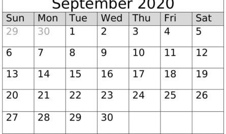 September 2020 Calendar Template Floral