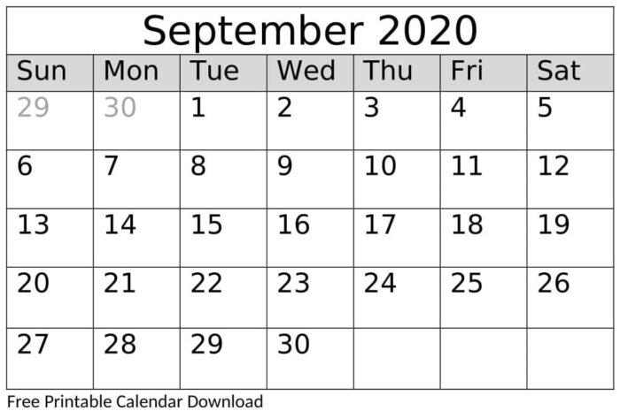 September 2020 Calendar Template Google Docs