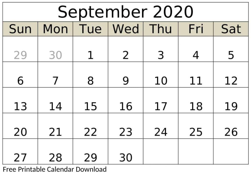 September 2020 Calendar Template Free