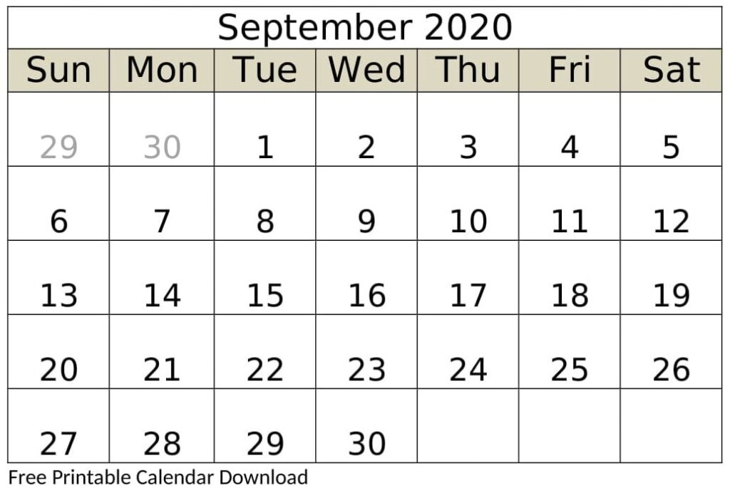 September 2020 Calendar Weekly
