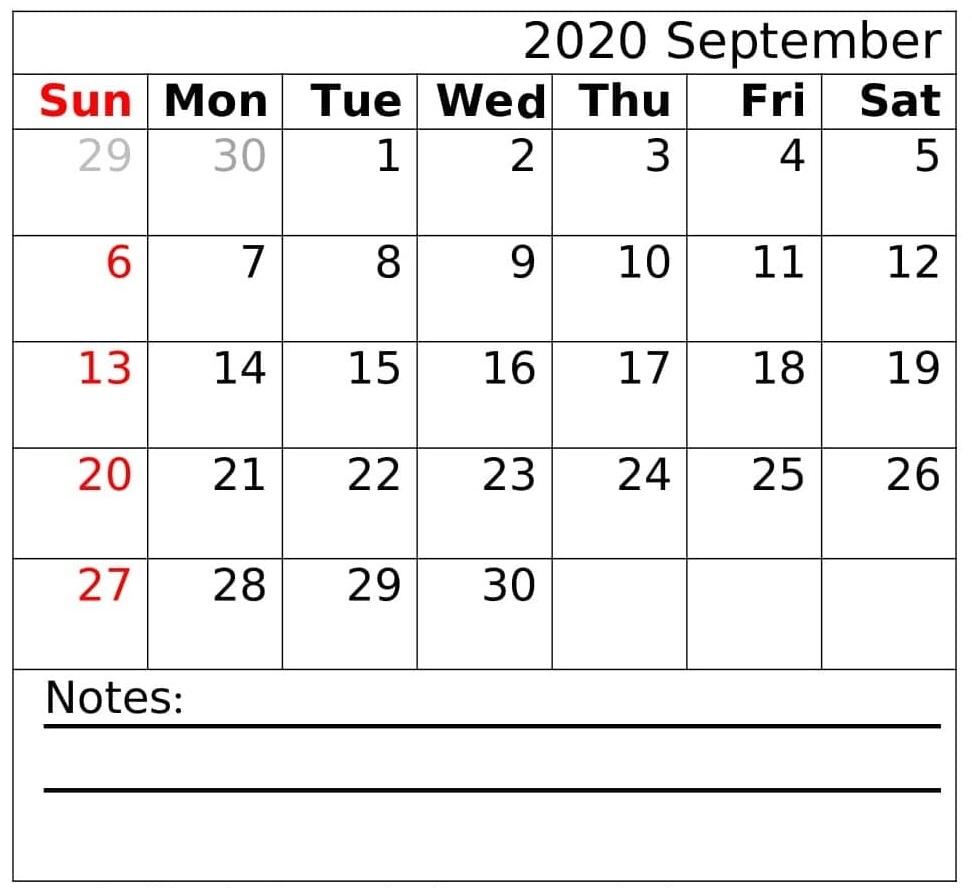 September Calendar 2020 Cute