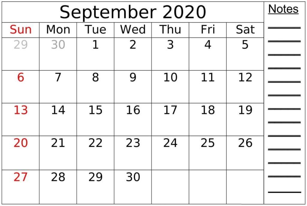 September Calendar 2020 PDF
