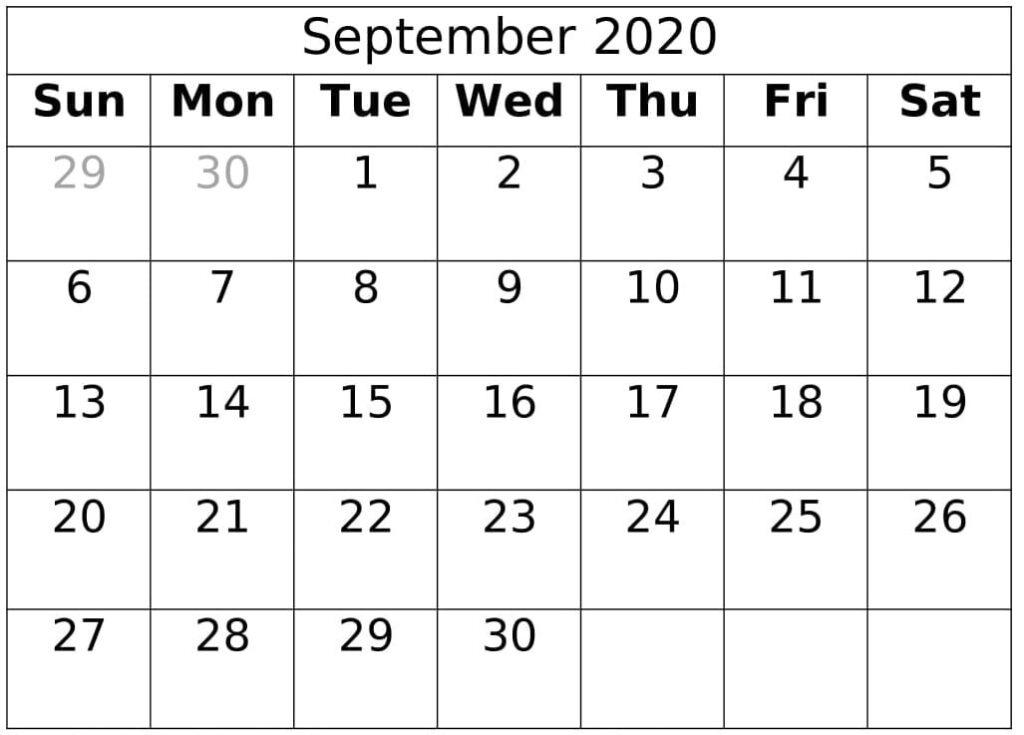 September Calendar 2020 Template