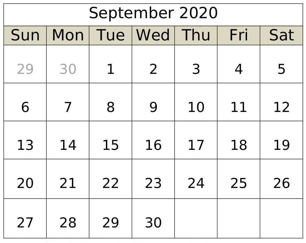September Calendar 2020 Word