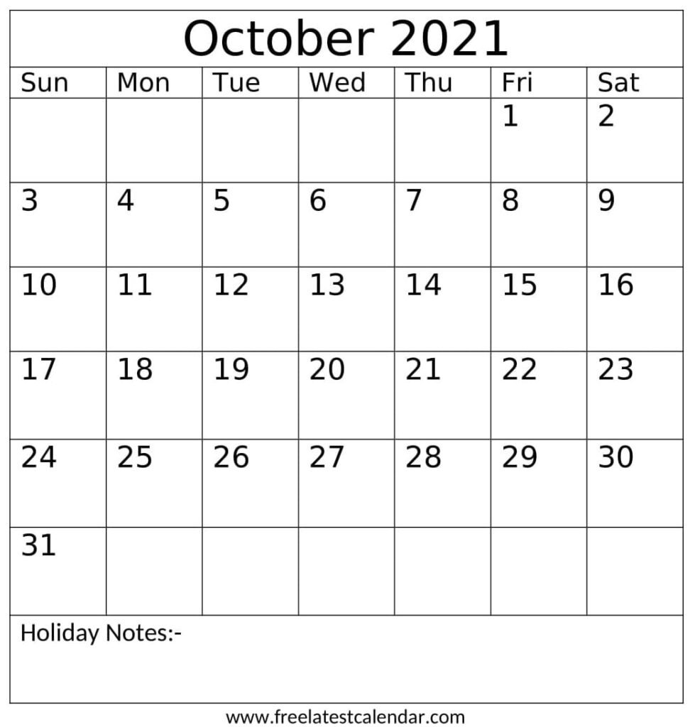 October 2021 Calendar With Holidays Notes